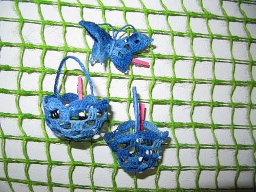 Háčkovaná dekorace - modrá sada