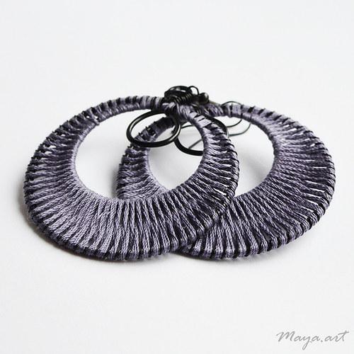 Vyplétané kruhy fialové - bavlnka