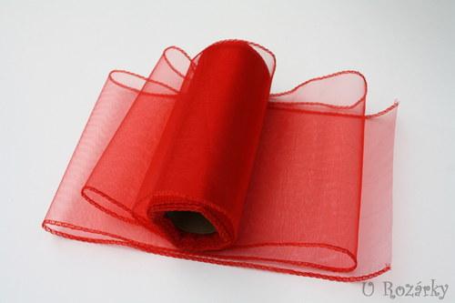 Organza obšitá - šíře 15 cm - červená