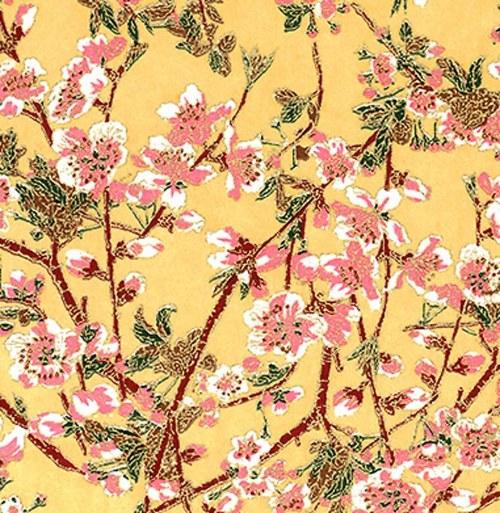 Handmade papír - Růžové sakury na béžové
