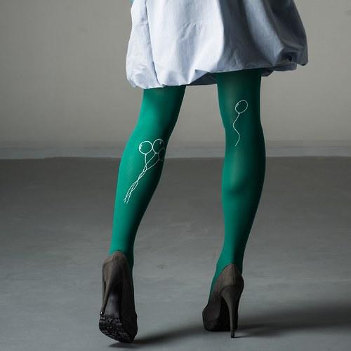 Designové punčocháče s balónky - zelené SLEVA!!!!
