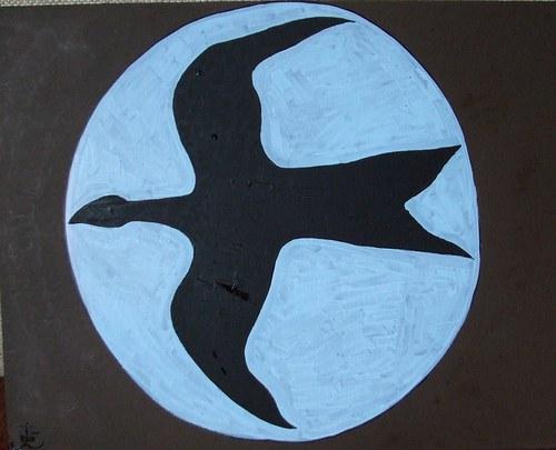 Noční lov, olej na sololitu, 46x58 cm