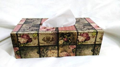 Krabička na kapesníky - vintage růže
