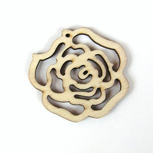 Růžička, dřevěný výsek, 50 mm - 1 kus