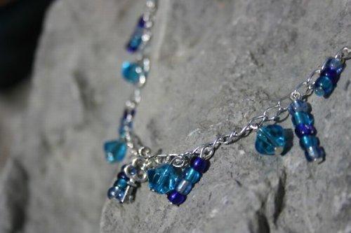 Náramek modré závěsy + klíč