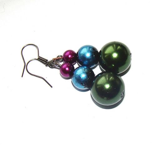 náušnice perličkové větší v barvách pavích per