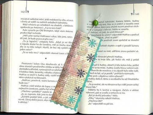 Záložka - zelená - kytky