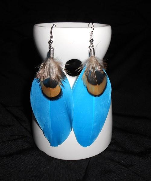 Náušnice peříčka - paví očka - modré