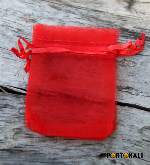 Organzový sáček červený