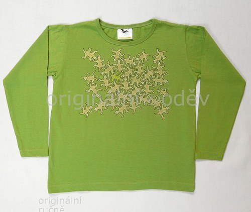 Malované tričko dětské-ještěrčí puzzle