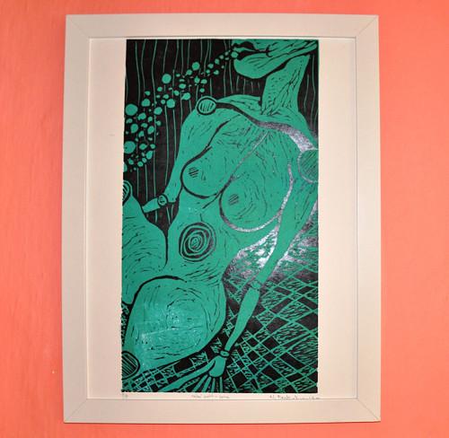 potopená- obraz, linoryt vč. rámu