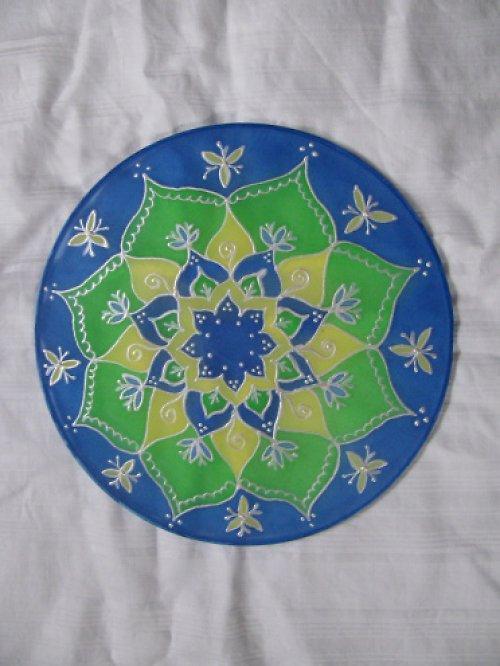 autorská mandala na hedvabi 20 cm