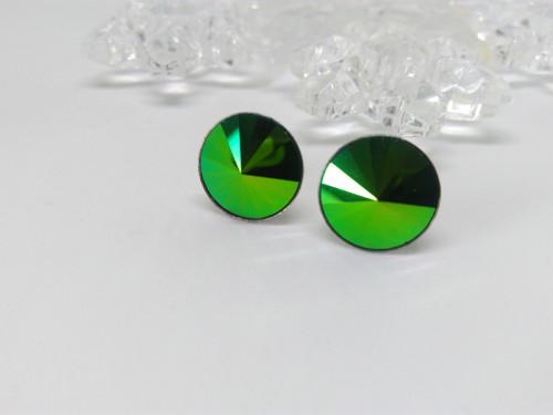 Ocelové náušnice - Scarabaeus Green 12mm
