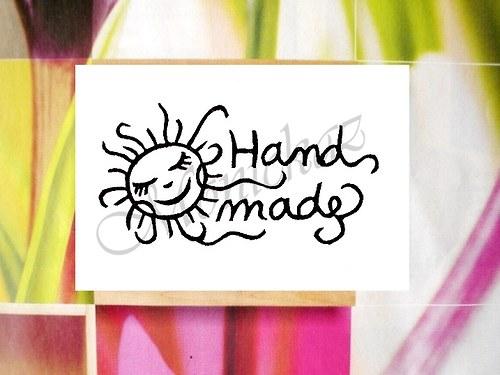Hand made slunce. Omyvatelné razítko.