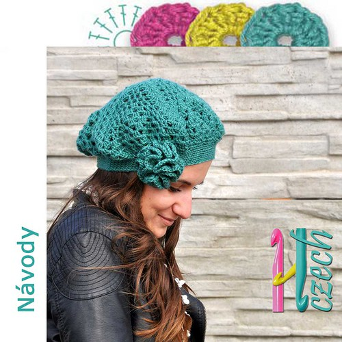 Háčkovaný baret zelený