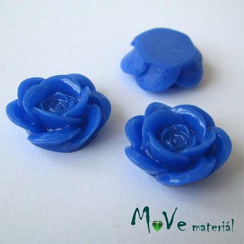 Kabošon květ lesklý A1 - resin - 2ks, tm. modrá