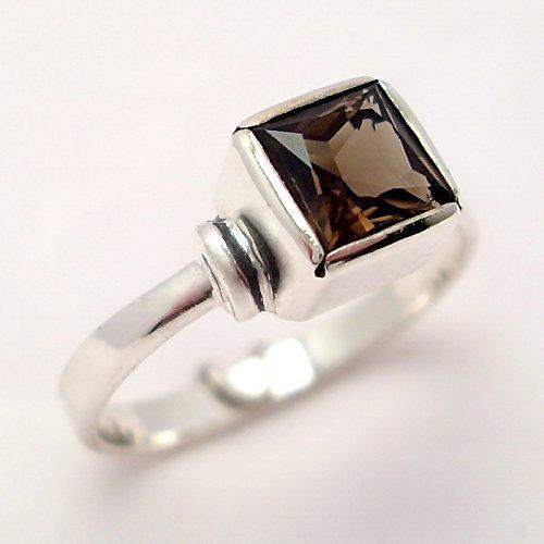 Prsten «Čtverec» - stříbro 925, přírodní záhněda