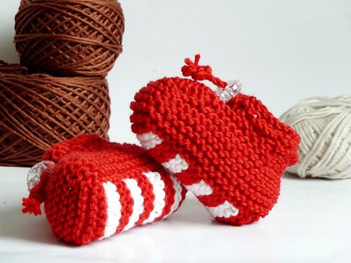 MERINO balerinky červeno-bílé