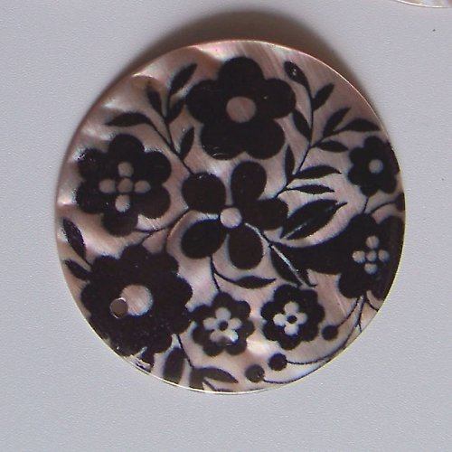 Perleťové malované kolečko tlustší, 5 cm, Kvítí3