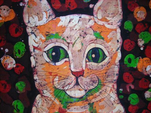Kočičí rodinka - vosková batika na objednávku