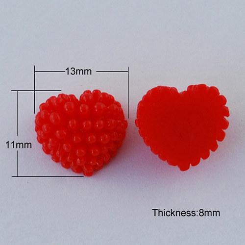 Srdce ježatka/ červená č. 6/ 13mm/ 10ks