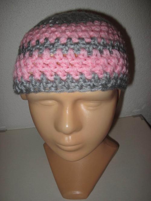 Růžovo šedá teplá čepice obvod 45-50cm