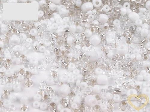 Bílý mix - skleněné korálky - balení 50 g