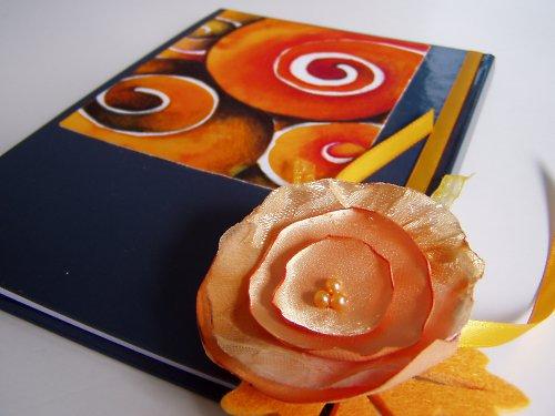 oranžový podzimní zápisník A5 s růží