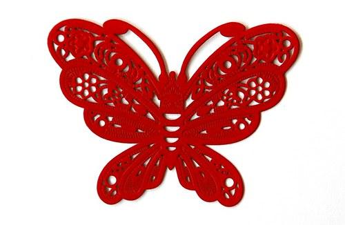 Motýl červený 38x50mm