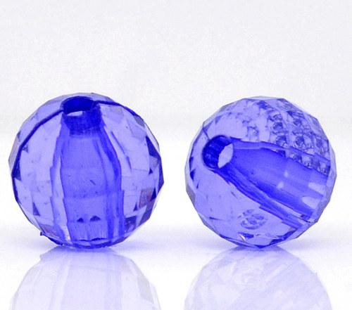korálky kuličky/ akryl/ modrofialové/ 8mm/ 10ks