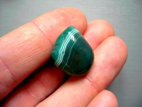 Troml. kámen – achát zelený 19 mm, č.24