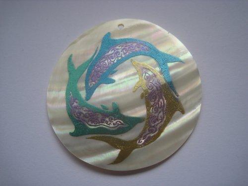 Přírodní perleťová placička - delfíni, 5 cm