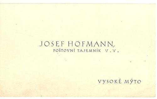 Vizitka Hofmann poštovní tajemník Mýto