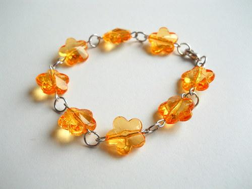Květinový náramek- oranžový