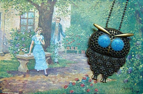 Výr MODROOČKO - náhrdelník