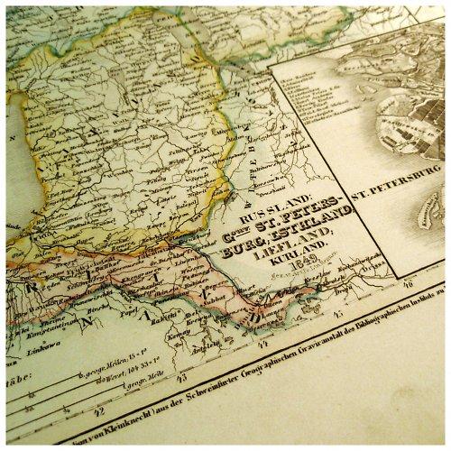 Historická mapa z roku 1850 RUSKO Peterburg č.1059