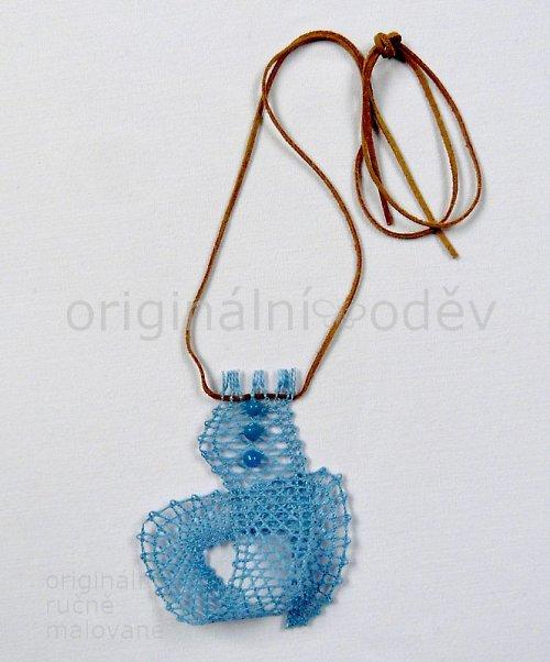 Paličkovaný náhrdelník - modrá smyčka