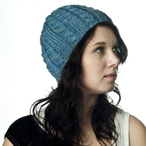 Winter colors - Modrá melírovaná čepice