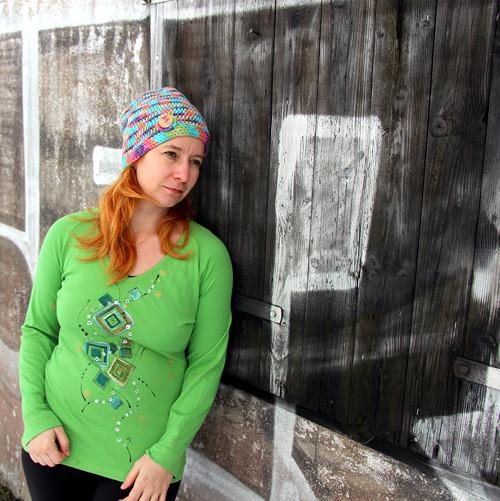 Malované triko zelené geometrické M-XL