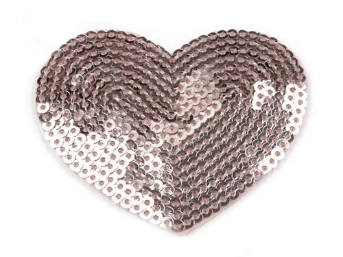 Nažehlovačka - HEART s flitry platina