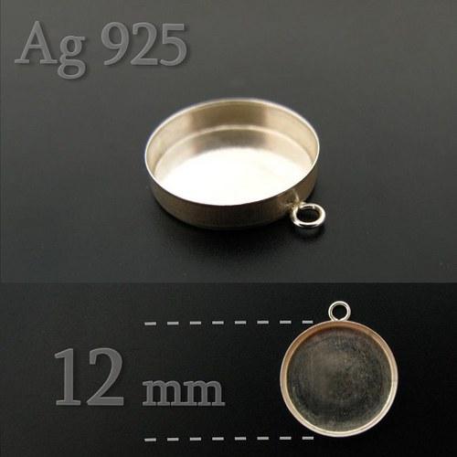 Lůžko kulaté 12mm ze stříbra Ag925