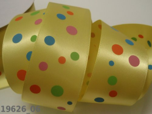 19626_06 Stuha 38mm žlutá/barevné puntíky