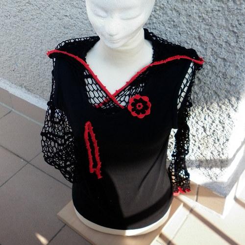 Háčkovaný top L černý s červenou