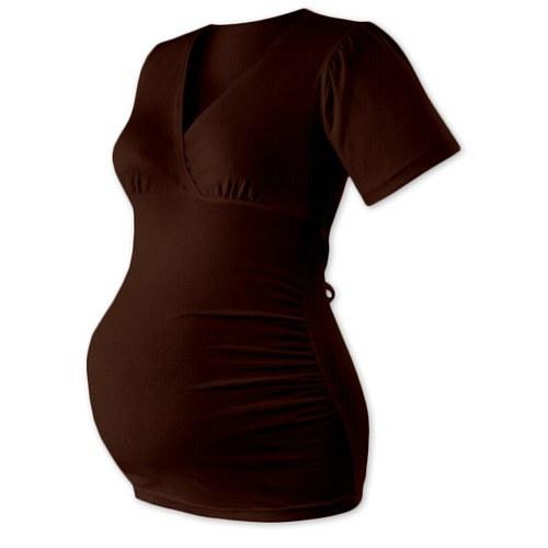 Těhotenská tunika na zavazování-  čokoládová