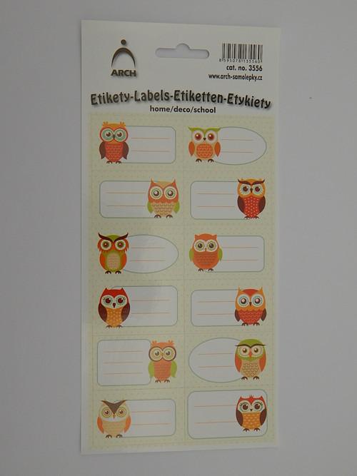 Samolepky etikety sova hnědá