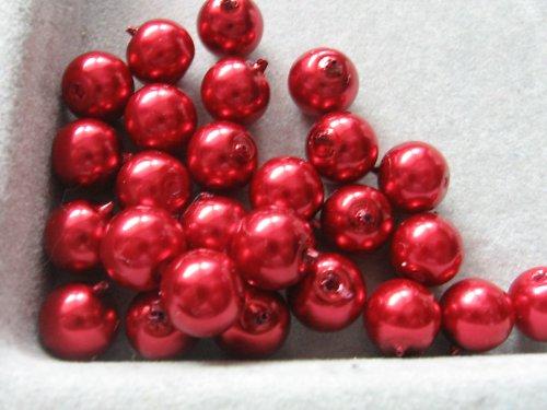 Vosková perla - červená 8 mm / 25ks