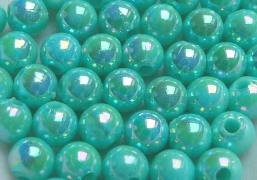 Plastové kuličky duhové 4 mm - tyrkys / 20 ks
