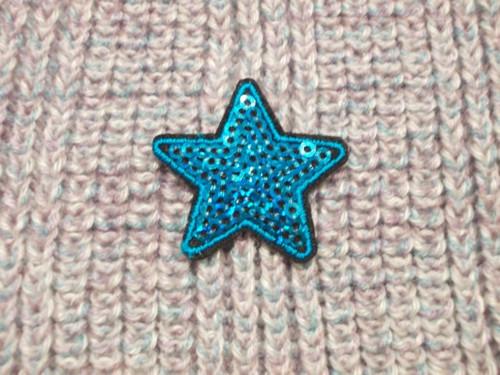 Nažehlovačka hvězda s flitry tyrkys