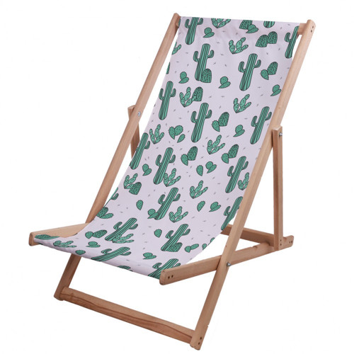 Plážové dřevěné lehátko kaktus