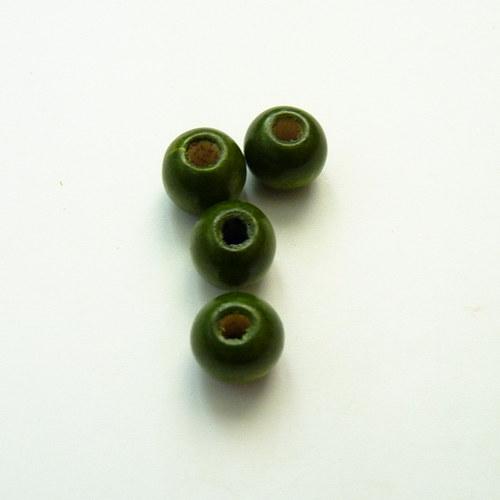 Tmavě zelené kuličky - dřevo 4 ks